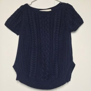 Zara Cable Knit Short Sleeve Navy Blue Sweater